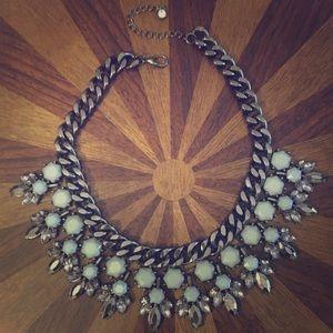Jewelry - Gunmetal gray and aqua stone necklace